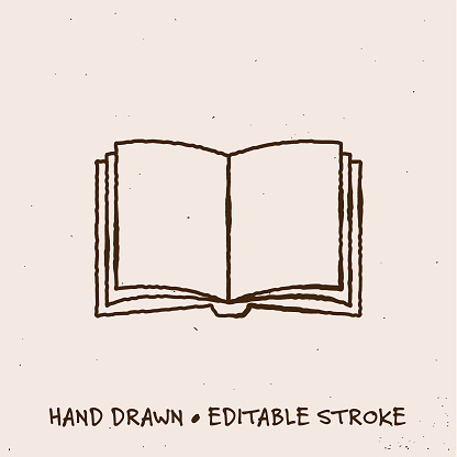 Hand Drawn Book Icon with Editable Stroke