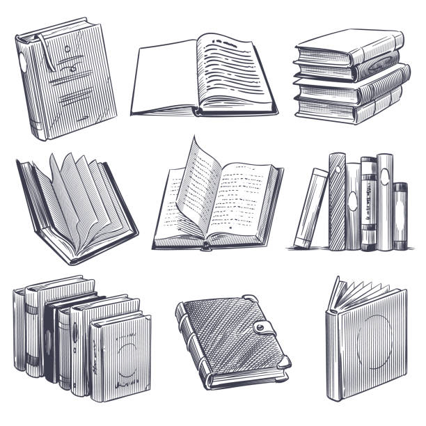 Hand drawn book. Retro sketch engraving monochrome notebooks. Library and bookstore elements, pile of old books vector set Hand drawn book. Retro sketch engraving monochrome notebooks. Library and bookstore elements, pile of old books vector vintage engraved sketched dictionary or magazine set book drawings stock illustrations