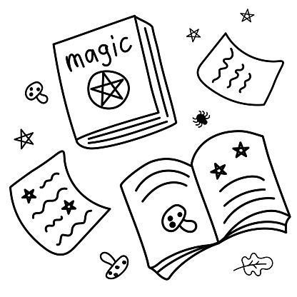 Hand drawn Books of magic spells and witchcraft. Ancient magic books with alchemy recipes and enchantments. Doodle style. Vector. Black outlines isolated on a white. For cards, stickers, background.