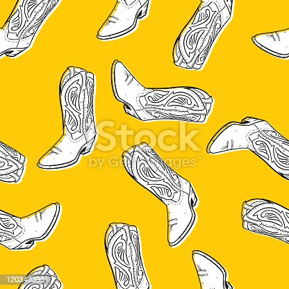 Vector illustration of hand drawn boots in a repeating pattern against a yellow background.
