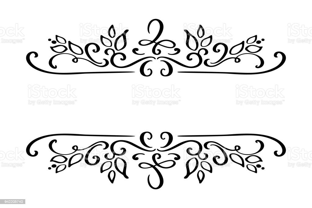 hand drawn border flourish separator calligraphy designer