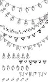 Hand drawn borders,garland brushes.Doodle pattern textures,lamps, lanterns,flags, ornament.Decoration vector brushstroke set.Used brushes included.