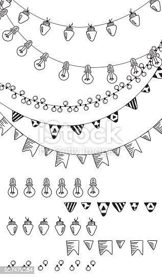 istock Hand drawn borders,garland brushes. 507479284