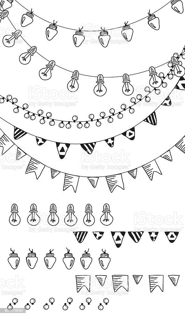 Hand drawn borders,garland brushes. vector art illustration