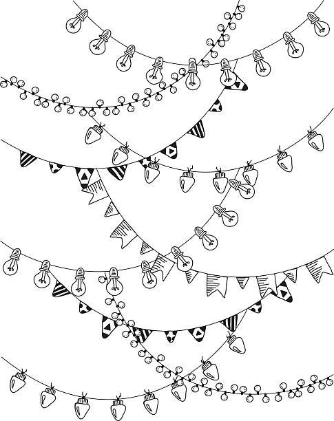 ilustraciones, imágenes clip art, dibujos animados e iconos de stock de mano dibujado fronteras, guirnaldas. - marcos de festividades y de temporada