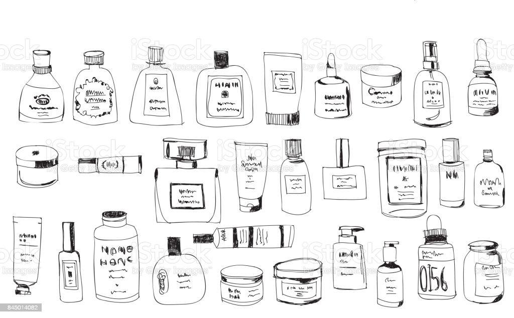 hand drawn bottles vector art illustration