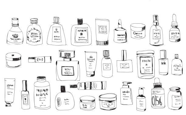 ilustrações, clipart, desenhos animados e ícones de mão desenhadas garrafas - tratamentos de beleza