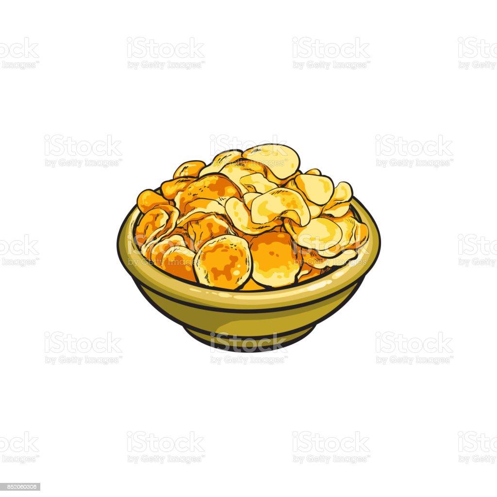 Hand drawn bowl full of crispy potato chips vector art illustration