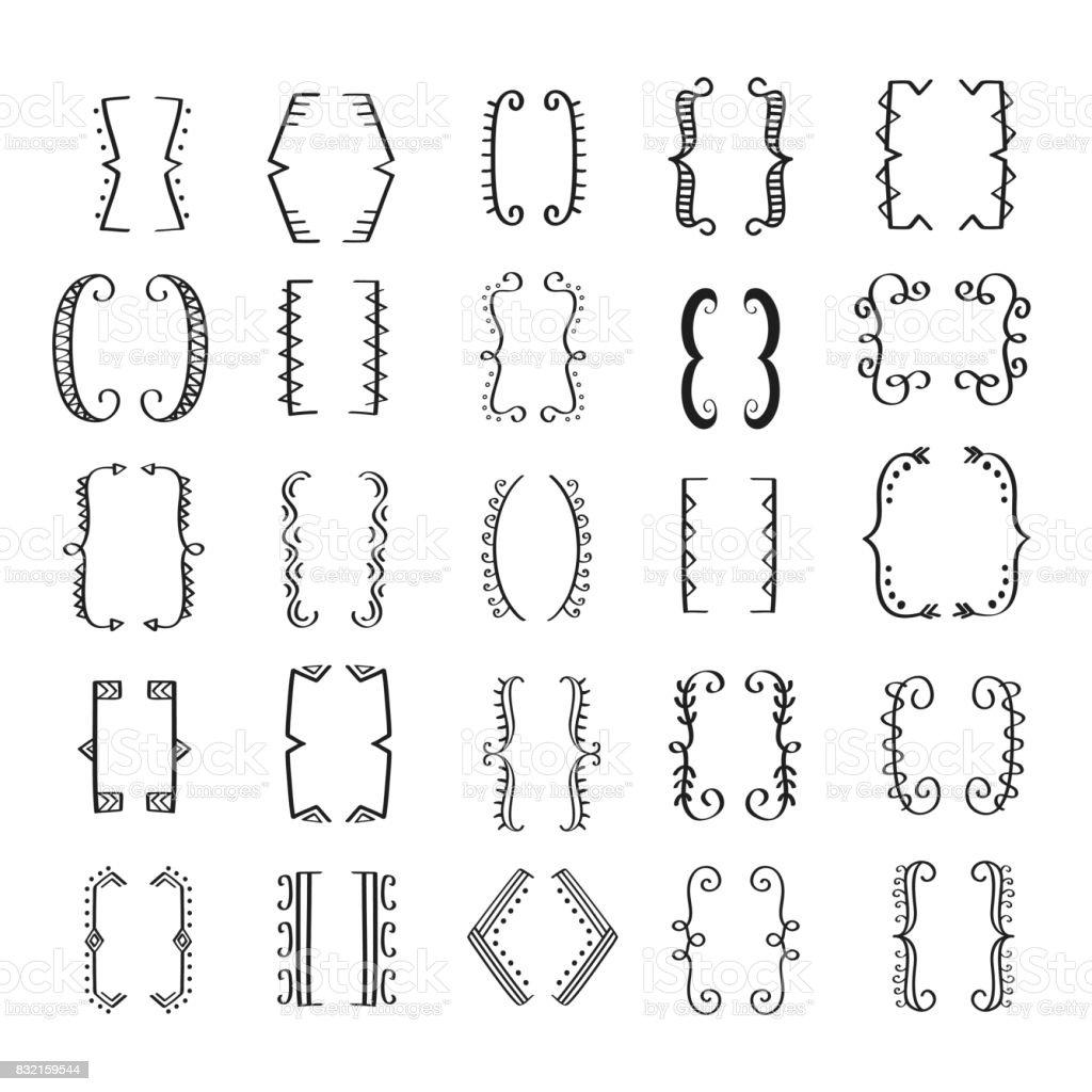Hand Drawn Bracket Big Set vector art illustration