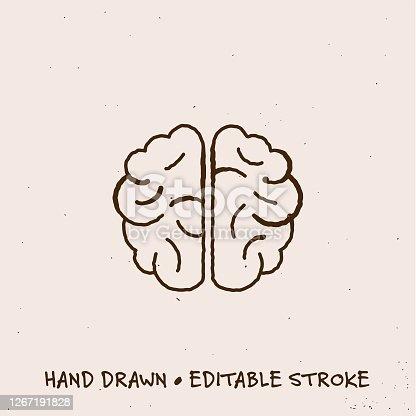 istock Hand Drawn Brain Icon with Editable Stroke 1267191828