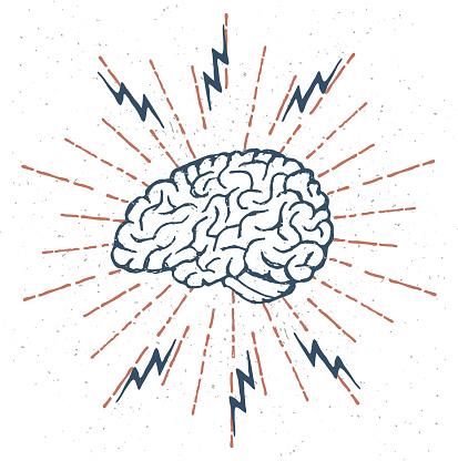 Hand Drawn Brain Lightning Bolts. Vector
