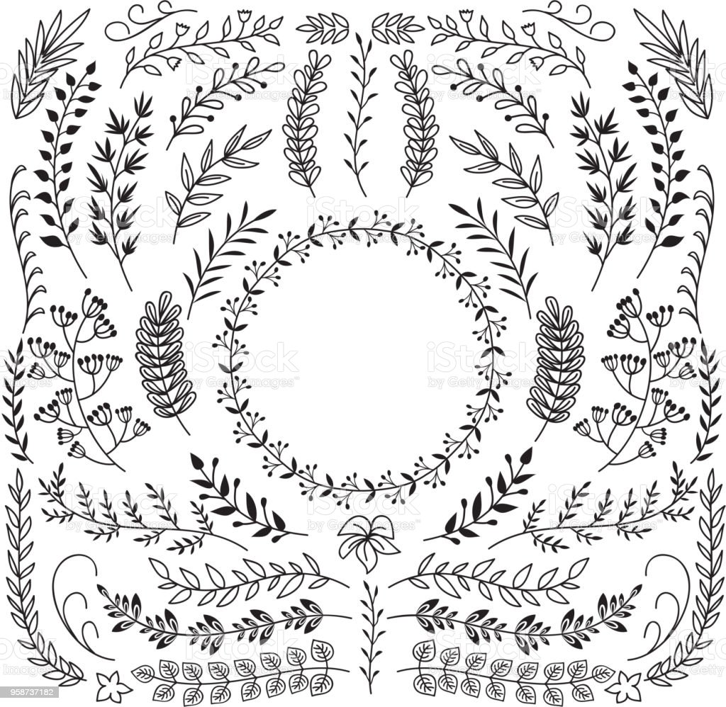 Decorative Floral Wreath Border Frames Rustic Doodle Vector Set