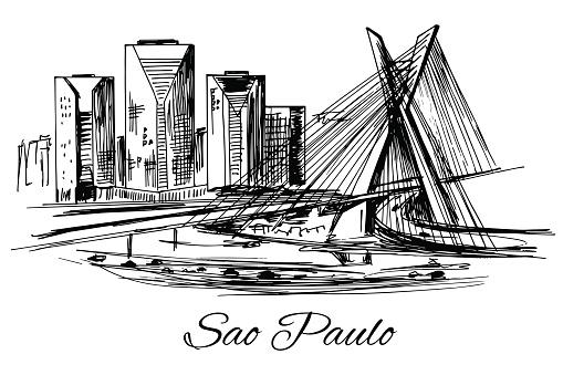 Hand drawn Brazil Sao Paulo bridge