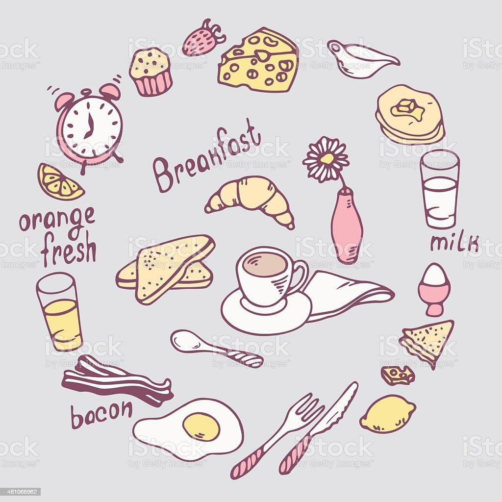 Hand drawn breakfast item set. Cute food illustration in vector vector art illustration