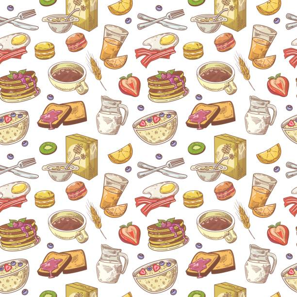 Hand Drawn Breakfast Seamless Pattern with Bakery vector art illustration