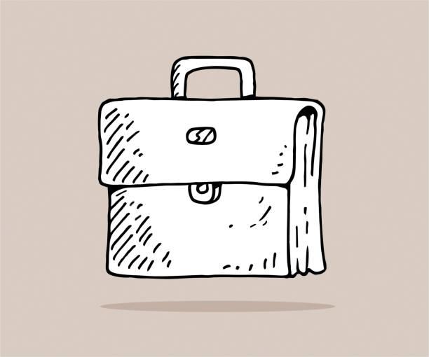 stockillustraties, clipart, cartoons en iconen met hand getrokken aktetas - schooltas