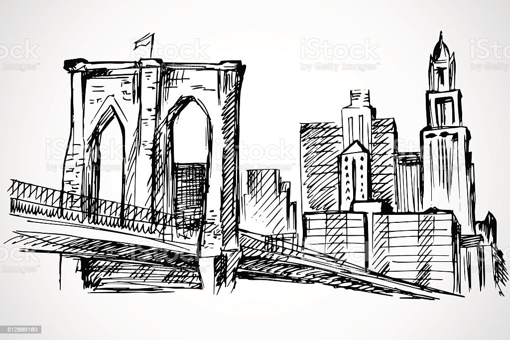 Hand drawn Brooklyn Bridge and buildings vector art illustration