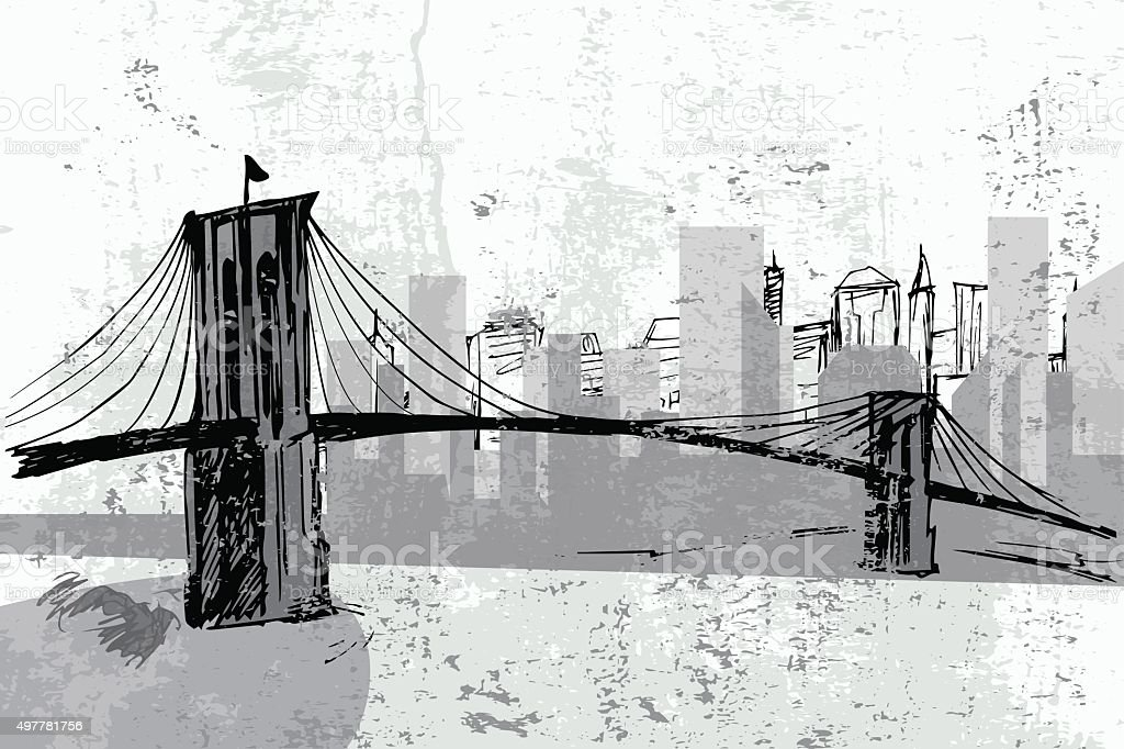 Hand drawn Brooklyn Bridge - vector vector art illustration