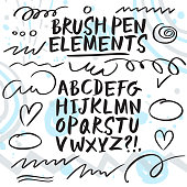Hand drawn brush pen calligraphy vector ABC letters. Artistic paintbrush font. Beautiful typeface for your design.
