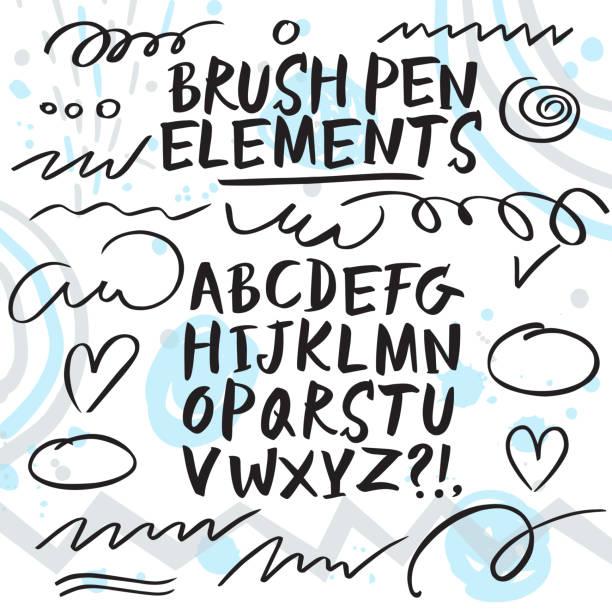 stockillustraties, clipart, cartoons en iconen met hand getekende borstel pen lettertype. - maaswerk