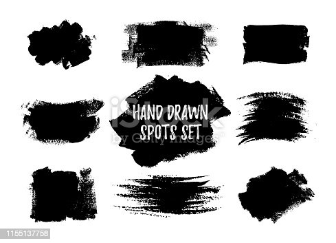 Hand drawn brush spots set. Vector illustration. Black white paint stripes and strokes artistic backgrounds. Grunge texture scribbles