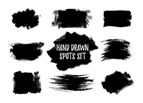 stockillustraties, clipart, cartoons en iconen met hand getrokken penseel vlekken set - bevlekt