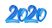 Vector illustration: Hand drawn brush stroke blue paint lettering of 2020. Happy New Year
