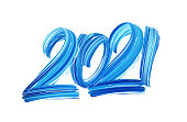 Hand drawn brush stroke blue paint lettering of 2021. Happy New Year