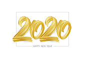 Vector illustration: Hand drawn brush stroke golden paint lettering of 2020. Happy New Year
