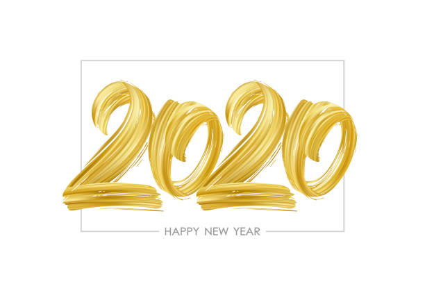 Hand drawn brush stroke golden paint lettering of 2020. Happy New Year Vector illustration: Hand drawn brush stroke golden paint lettering of 2020. Happy New Year 2020 stock illustrations