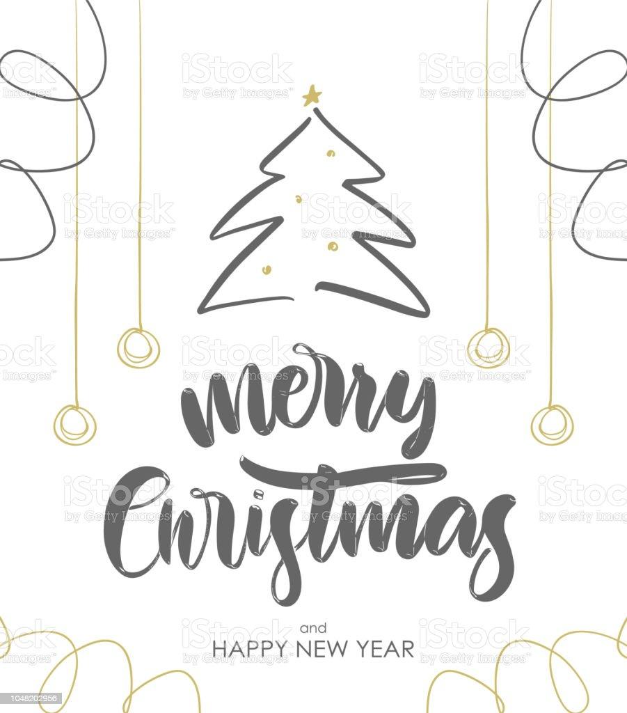 Schriftzug Frohe Weihnachten.Hand Gezeichnet Pinsel Geben Schriftzug Frohe Weihnachten Mit