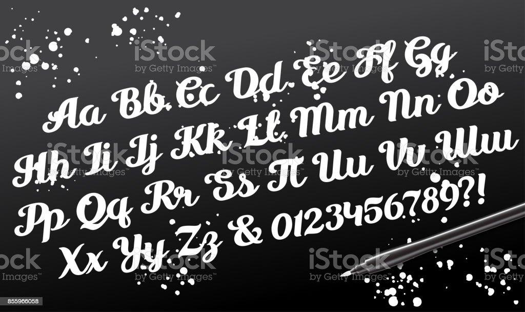 Hand drawn brushpen calligraphic alphabet script letters