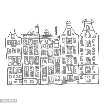 Vector illustration of a colorful and cute hand drawn buildings