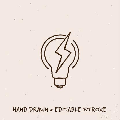 Hand Drawn Bulb Single Line Icon with Editable Stroke
