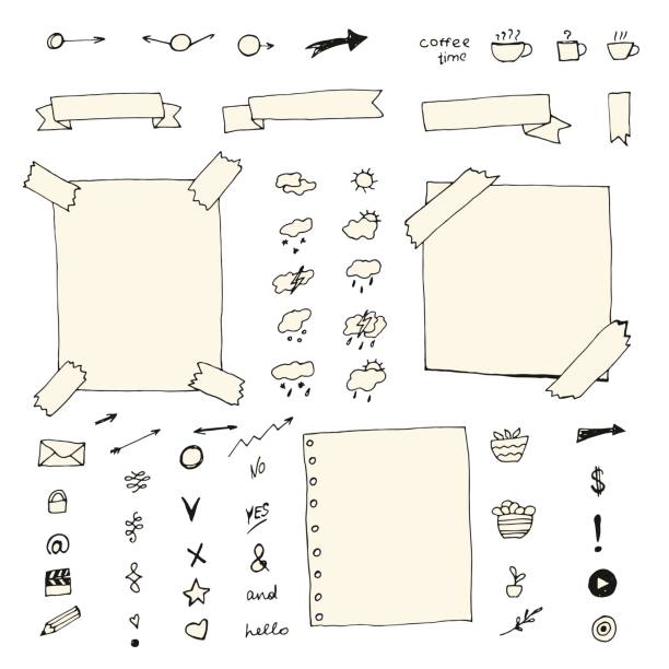 Hand drawn bullet journal elements. Hand drawn bullet journal elements. diary stock illustrations