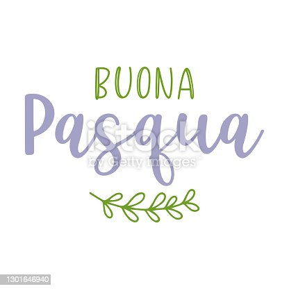 istock Hand drawn BUONA PASQUA quote in Italian, translated Happy Easter. Lettering for ad, poster, print, gift decoration. 1301646940