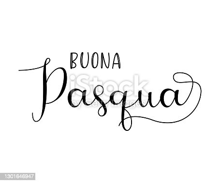 istock Hand drawn BUONA PASQUA quote in Italian, translated Happy Easter. Lettering for ad, poster, print, gift decoration. 1301646947