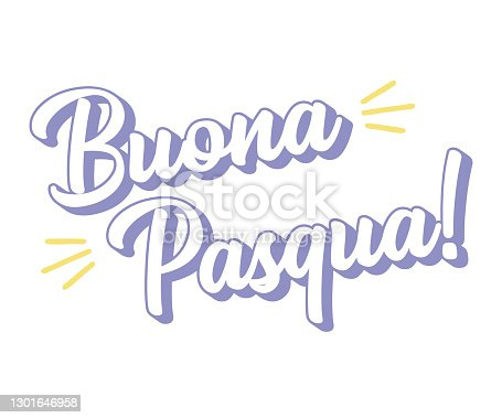 istock Hand drawn BUONA PASQUA quote in Italian, translated Happy Easter. Lettering for ad, poster, print, gift decoration. 1301646958