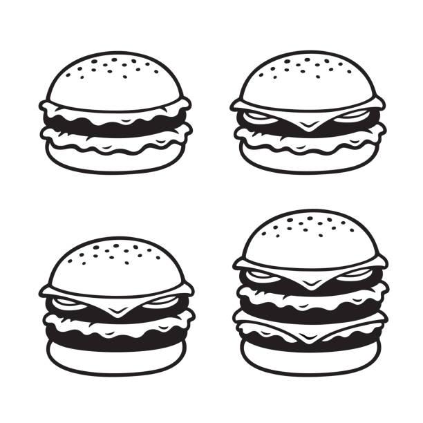 illustrazioni stock, clip art, cartoni animati e icone di tendenza di set di hamburger disegnato a mano - hamburger