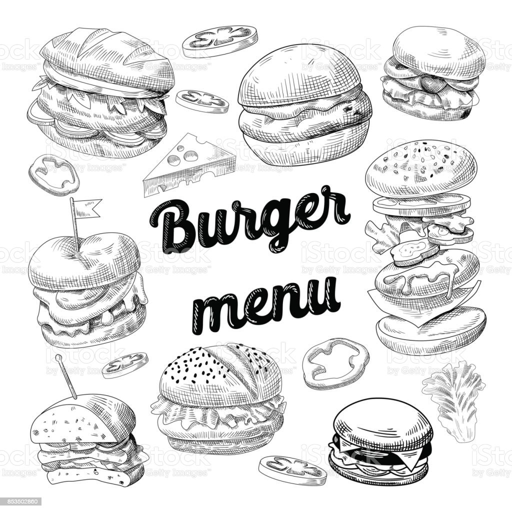 Hand Drawn Burgers. Restauration rapide Menu Cheeseburger - Illustration vectorielle
