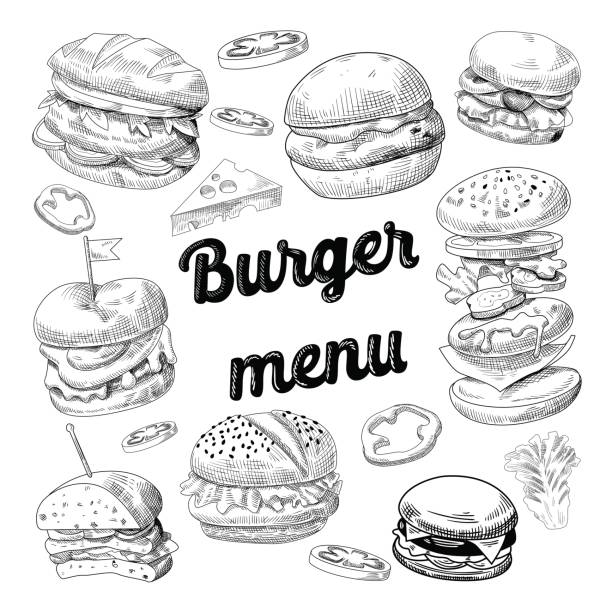 hand drawn burgers. fast food menu cheeseburger - cheeseburger stock illustrations