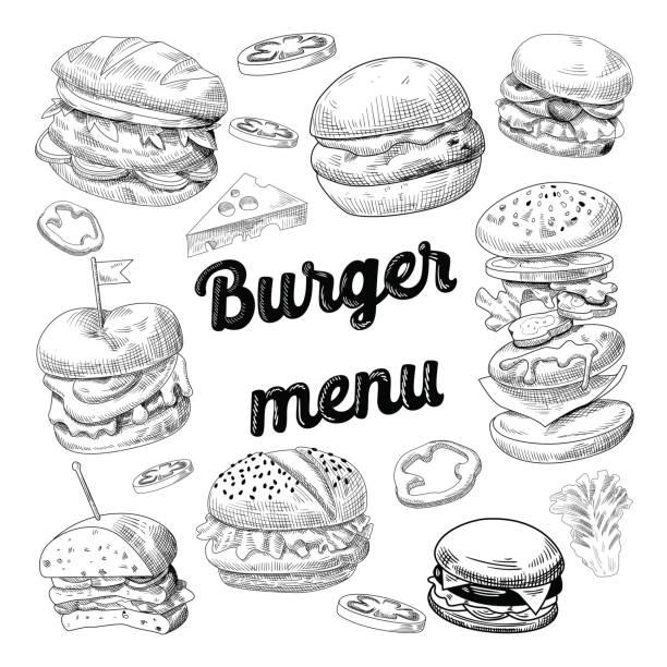 hand drawn burgers. fast food menu cheeseburger - burgers stock illustrations, clip art, cartoons, & icons
