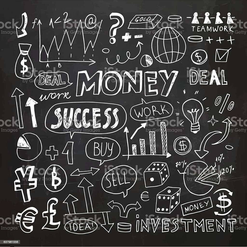 Hand Drawn Business and Money Doodle Elements vector art illustration