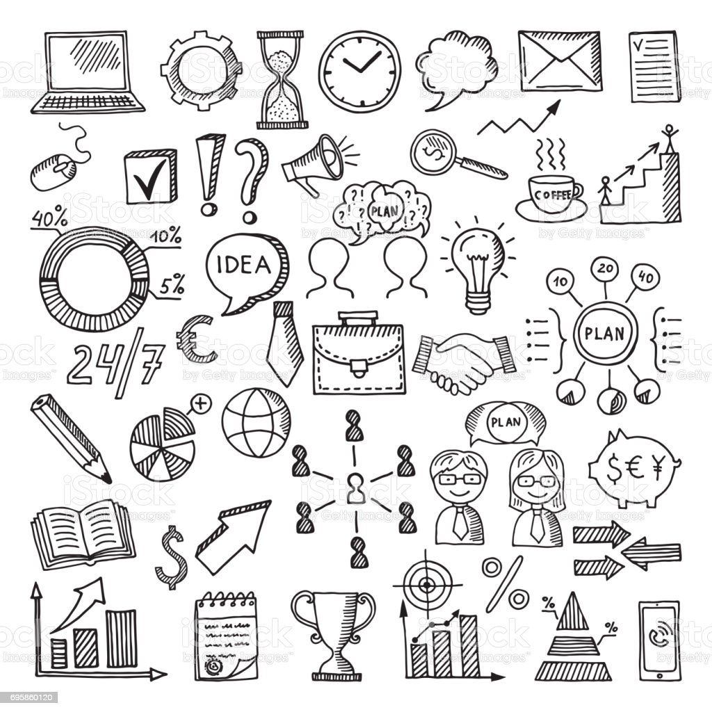 Hand drawn business icon set. Vector doodles illustrations isolate on white background vector art illustration
