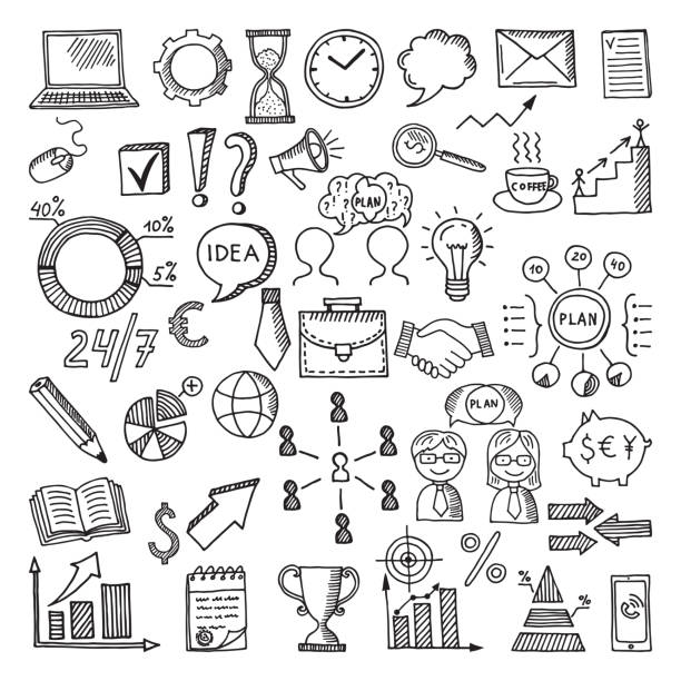 hand drawn business icon set. vector doodles illustrations isolate on white background - szkic rysunek stock illustrations