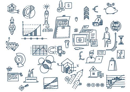 Hand drawn business planning symbols doodle elements