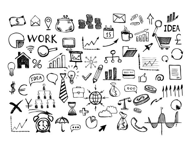 Hand drawn business symbols. Management concept with Doodle design style. Hand drawn business symbols. Management concept with Doodle design style. business drawings stock illustrations