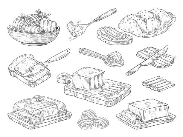 ilustrações de stock, clip art, desenhos animados e ícones de hand drawn butter. sketch breakfast culinary ingredient, drawn compositions with bread and butter. vector doodle set - manteiga
