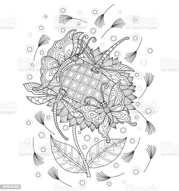 Hand drawn butterfly and dragonfly on sunflower for adult coloring vector id856630662?b=1&k=6&m=856630662&s=612x612&h=fncc0dk594gmhgwrrmntsa18y1cbqdewig qapg mac=
