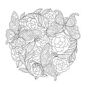 Hand drawn Butterfly and rose background for adult coloring page.